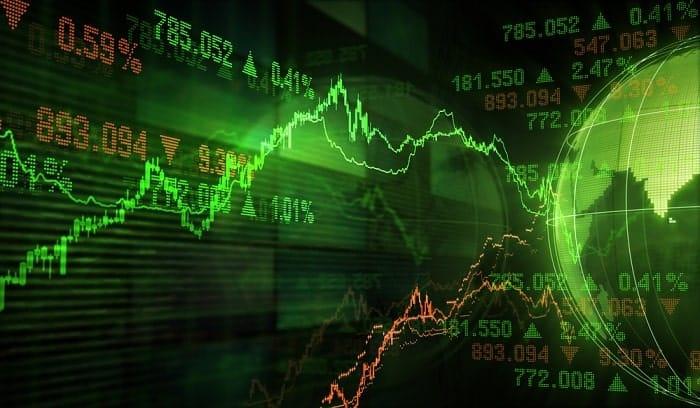 Finance symbols of stock market